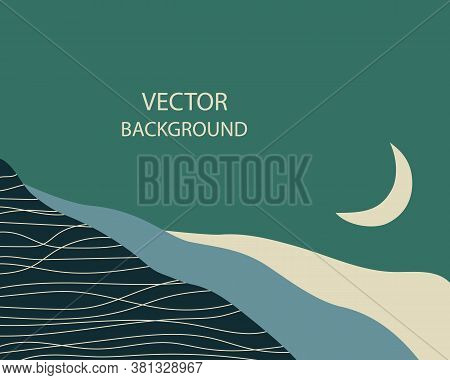 Abstract Landscape. The Crescent Moon Above The Hills. Background With Space For Text, Vector Illust