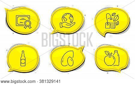 Peanut Sign. Diploma Certificate, Save Planet Chat Bubbles. Mint Bag, Beer Bottle And Apple Line Ico