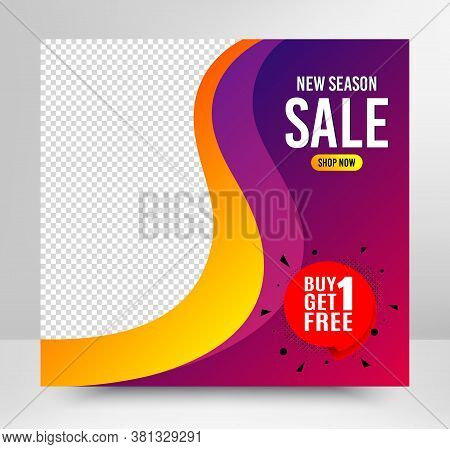 Buy 1 Get 1 Free Badge. Sale Banner Template. Discount Banner Tag. Coupon Icon. Social Media Layout