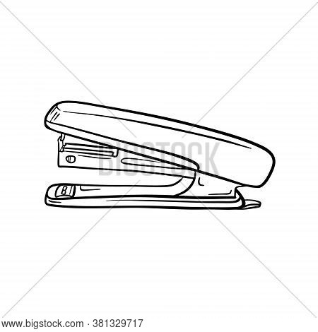 A Sketch Of The Stapler. Stationery, Office Supplies For Paper Binding. Engraving Style. Digital Dra