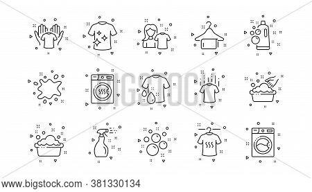Dryer, Washing Machine And Dirt Shirt. Laundry Line Icons. Laundromat, Hand Washing, Laundry Service