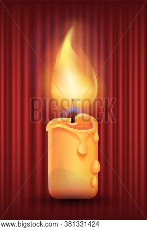Candle With Burning Flame And Melting Wax Vector, Red Curtain Background. Light From Flames, Candles