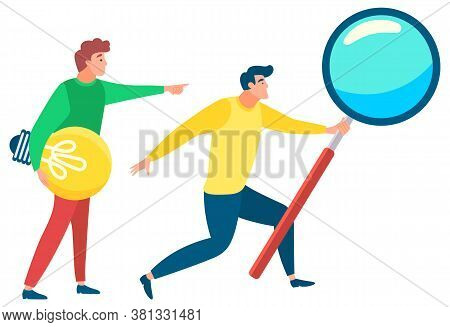 Man Standing With Magnifying Glass. Other Person Stand With Light Bulb In Hands What Symbolizes Idea