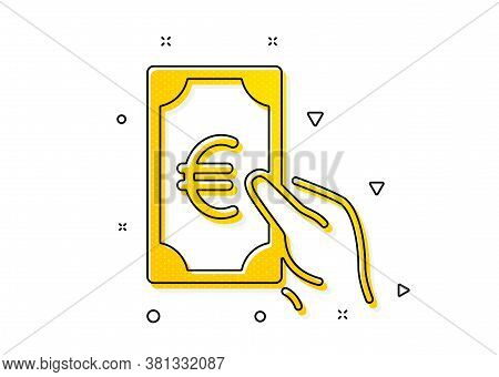 Banking Currency Sign. Hold Cash Money Icon. Euro Or Eur Symbol. Yellow Circles Pattern. Classic Fin