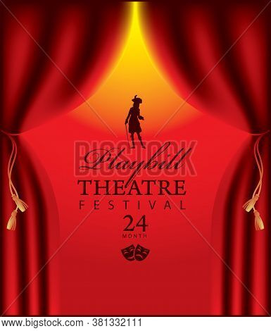 Poster For A Theatre Festival With Velvet Theatrical Curtains And Silhouette Of An Actor In Baroque