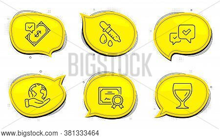 Chemistry Pipette Sign. Diploma Certificate, Save Planet Chat Bubbles. Accepted Payment, Approve And