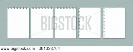 Set Of Vector Blank Checkered Sheets For Notes. Blank Template Mock Ready For Notes Messages. Collec