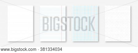 Blank Notebook Sheets, Lined, Squared And Dotted. Realistic Paper Sheet, Notepad Page And Copybook P