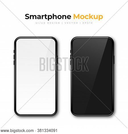 Realistic Phone Mockup. Set Of Modern Phones With White And Black Display. Smartphone Design Mockup