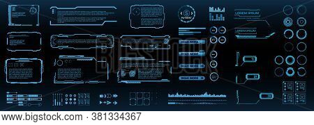 Set Of Futuristic Digital Hud Elements For User Interface. Callouts, Frames, Pointers, Circles, Arro