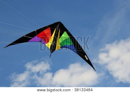 Colourful stunt kite flying in the sky