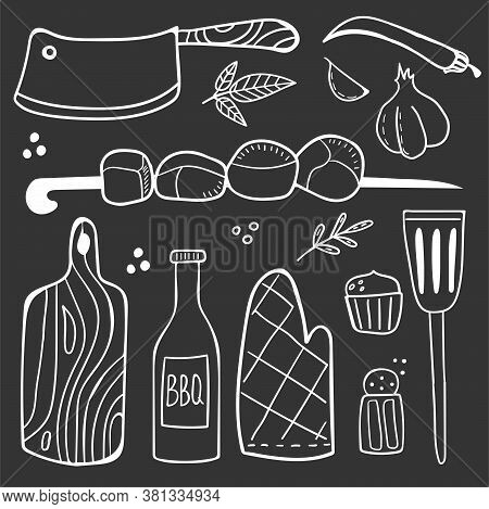 Chalk Drawing Bbq Doodle Set. Hand Drawn Modern Barbeque Cooking Food Collection, Meat Vegetables An