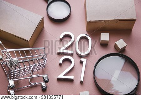 Search And Shopping In The New Year 2021. Shopping List And To-do List