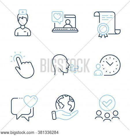 Breathing Exercise, Time Management And Heart Line Icons Set. Diploma Certificate, Save Planet, Grou