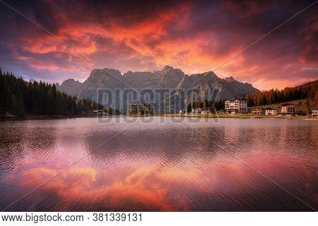 Dolomites mountains reflected in the Lago mi Misurina Lake at sunset, South Tyrol. Italy