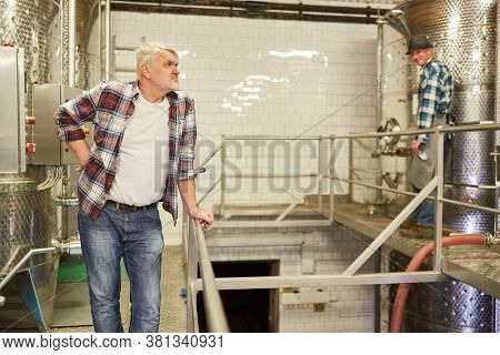 Elderly winemaker supervises the wine production in the winery