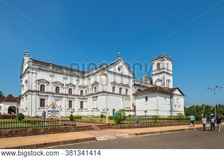 Old Goa, India - November 23, 2019: View Of The Roman Catholic Cathedral In Old Goa, India.