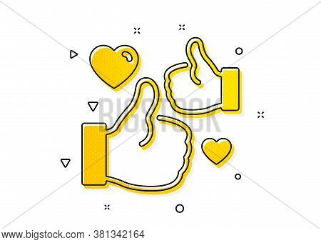 Thumbs Up With Heart Sign. Like Icon. Positive Feedback, Social Media Symbol. Yellow Circles Pattern