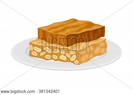 Turron From Honey And Nuts As Spanish Cuisine Dessert Served On Plate Vector Illustration