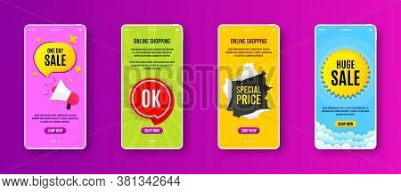 Ok Badge. Phone Screen Banner. Approved Chat Bubble Icon. Sale Banner On Smartphone Screen. Mobile P