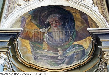 DAPCI, CROATIA - SEPTEMBER 22, 2013: God the Father, the main altar at St. Catherine of Alexandria Church in Dapci, Croatia