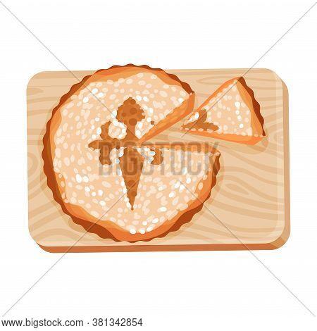 Sponge Cake Garnished With Powdered Sugar As Spanish Cuisine Dessert Served On Wooden Board Vector I