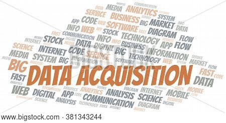 Data Acquisition Vector Word Cloud, Made With The Text Only.
