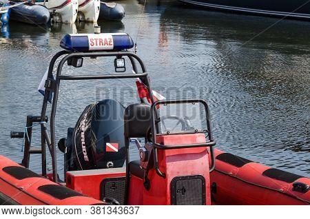 Kolobrzeg, West Pomeranian / Poland - 2020: Rescue Boat Of The Port Fire Brigade