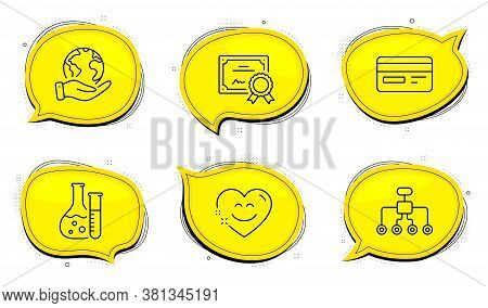 Credit Card Sign. Diploma Certificate, Save Planet Chat Bubbles. Smile Chat, Chemistry Lab And Restr