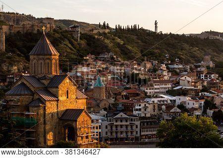 Tbilisi, Georgia - June 14, 2016: Beautiful View Of Old Tbilisi At Sunset, Georgia, Europe