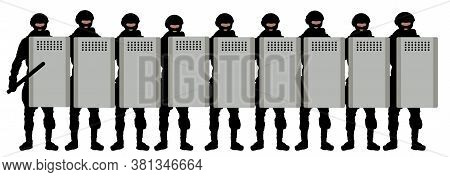 Riot Squad Crowd With Shields. Police Special Forces With Batons. Silhouette Vector Illustration