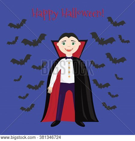 Happy Halloween. Boy In Vampire Costume. Vector Illustration. Greeting Card For Halloween.