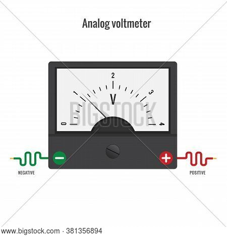 Analog Voltmeter. The Voltmeter Is A Physical Device For Measuring The Voltage In An Electrical Circ
