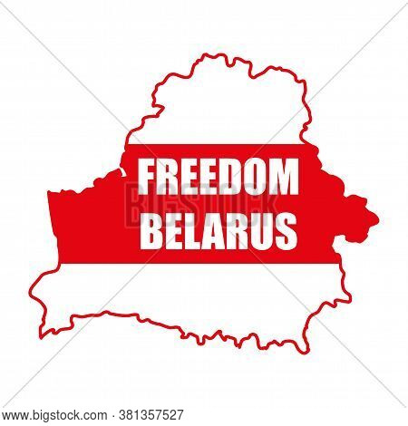 Freedom Belarus Against The Background Of The White-red-white Flag. The Symbol Of Freedom Belarus. N