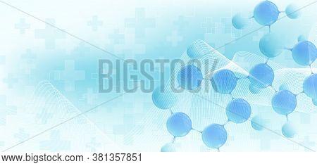 Molecular 3d Vector Structure Molecule Or Atom. Scientific Vector Illustration For Science Or Medica