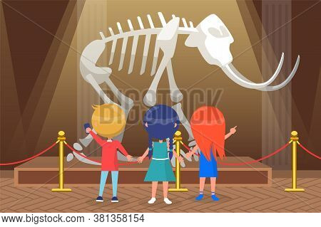 Museum For Kids Vector, Back To School Concept. Children Looking At Skeleton Of Mastodon, Mammoth Wi