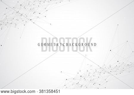 Geometric Abstract Background With Connected Lines And Dots. Connectivity Flow Point. Molecule And C