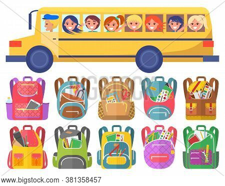 Happy Children Ride On Schoolbus. Boys And Girls Going To Or From School. Under Bus On Picture Are S