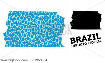 Vector Mosaic And Solid Map Of Brazil - Distrito Federal. Map Of Brazil - Distrito Federal Vector Mo