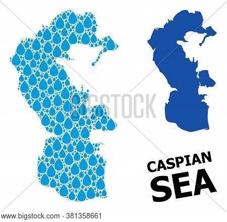 Vector Mosaic And Solid Map Of Caspian Sea. Map Of Caspian Sea Vector Mosaic For Clean Water Ads. Ma