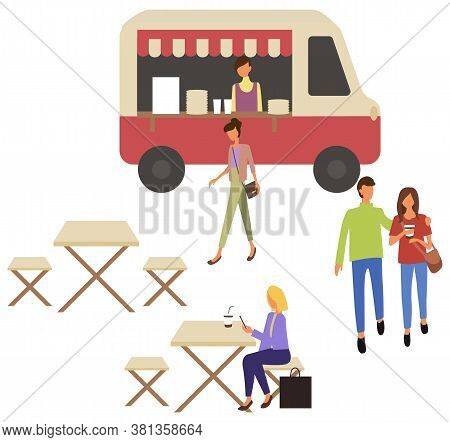 Fast Food Truck Takeout Food Shop And Cafe With Takeaway Dishes And Coffee Drinks. Vector Woman Sitt