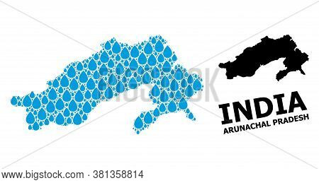 Vector Mosaic And Solid Map Of Arunachal Pradesh State. Map Of Arunachal Pradesh State Vector Mosaic