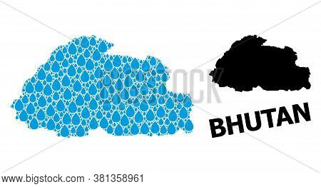Vector Mosaic And Solid Map Of Bhutan. Map Of Bhutan Vector Mosaic For Pure Water Ads. Map Of Bhutan