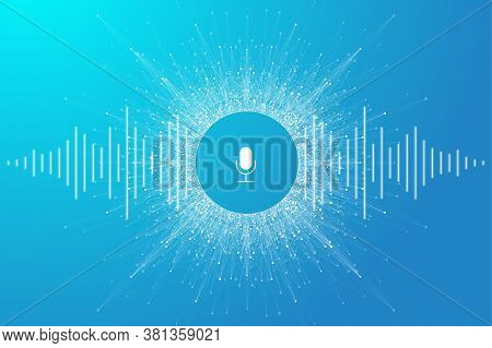 Voice Assistant Concept. Vector Sound Wave. Voice And Sound Recognition Equalizer Wave Flow Backgrou