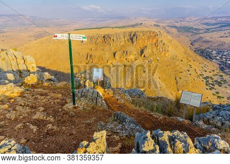 Arbel, Israel - August 14, 2020: View Landscape And Mount Nitay From Mount Arbel National Park, With