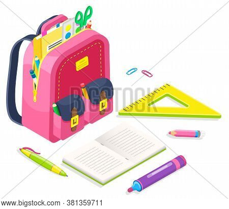 Bag With Supplies For Lessons Vector, Back To School Concept. Isometric Cartoon Of Pink Satchel With
