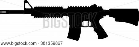 American M16 Military Rifle, Icon Self Defence Automatic Weapon Concept Simple Black Vector Illustra