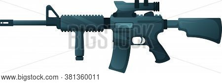 American M16 Military Rifle With Aim, Icon Self Defence Automatic Weapon Concept Cartoon Vector Illu