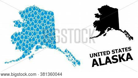 Vector Mosaic And Solid Map Of Alaska State. Map Of Alaska State Vector Mosaic For Pure Water Ads. M