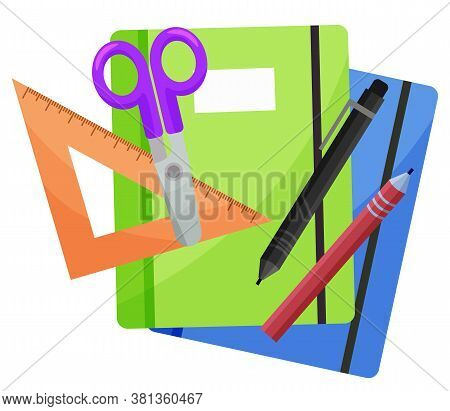 School Copybooks Or Diary, Stationery Supplies Isolated Object Vector. Notebook And Scissors, Pencil